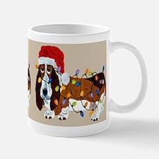 Basset Tangled In Christmas Lights Mug