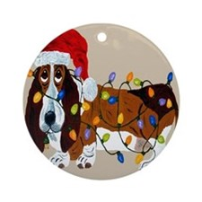 Basset Tangled In Christmas Lights Ornament (Round