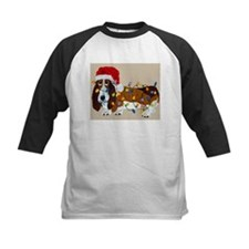 Basset Tangled In Christmas Lights Tee