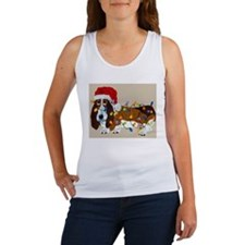 Basset Tangled In Christmas Lights Women's Tank To