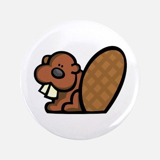 """Cute Beaver 3.5"""" Button"""