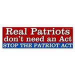 Stop the Patriot Act bumper sticker