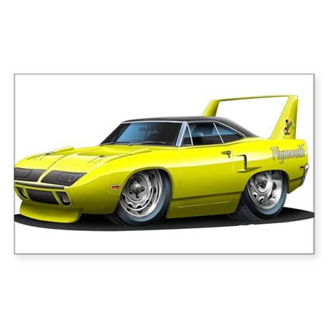 Superbird Yellow Car Rectangle Sticker