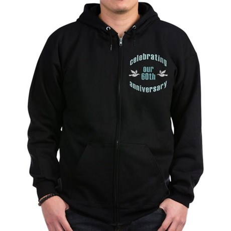 60th Wedding Doves Anniversary Zip Hoodie (dark)