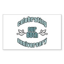60th Wedding Doves Anniversary Rectangle Decal