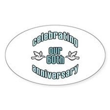 60th Wedding Doves Anniversary Oval Decal