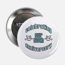 "60th Wedding Doves Anniversary 2.25"" Button"