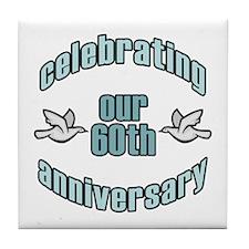 60th Wedding Doves Anniversary Tile Coaster