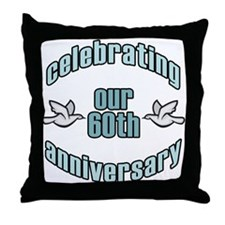 60th Wedding Doves Anniversary Throw Pillow