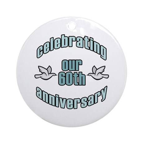 60th Wedding Doves Anniversary Ornament (Round)