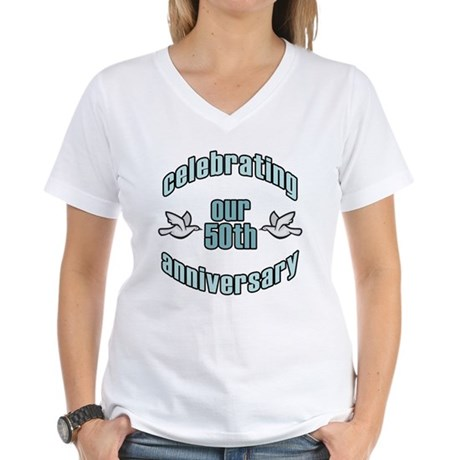50th Wedding Doves Anniversary Women's V-Neck T-Sh