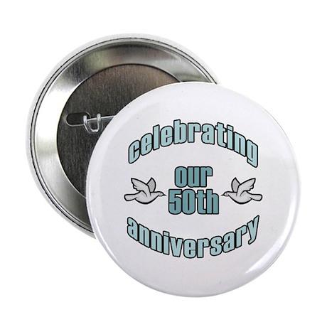 "50th Wedding Doves Anniversary 2.25"" Button"