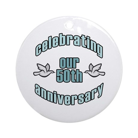 50th Wedding Doves Anniversary Ornament (Round)