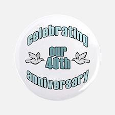 "40th Wedding Doves Anniversary 3.5"" Button"