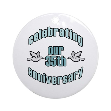 35th Wedding Doves Anniversary Ornament (Round)