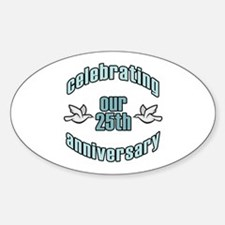25th Wedding Doves Anniversary Oval Decal