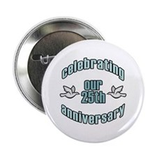 "25th Wedding Doves Anniversary 2.25"" Button"
