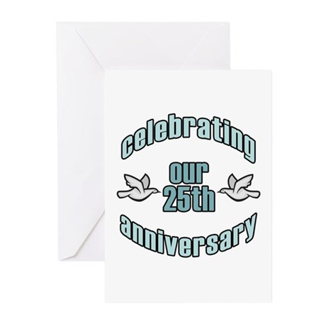 25th Wedding Doves Anniversary Greeting Cards (Pk