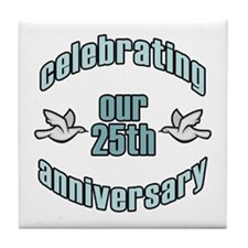 25th Wedding Doves Anniversary Tile Coaster