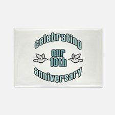 10th Wedding Doves Anniversary Rectangle Magnet
