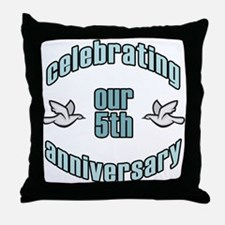 5th Wedding Doves Anniversary Throw Pillow