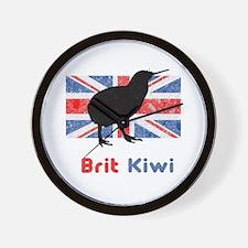 Brit Kiwi Flag Wall Clock