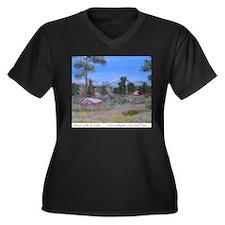 Unknown Path Women's Plus Size V-Neck Dark T-Shirt