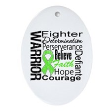 Collage Lymphoma Warrior Oval Ornament