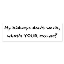 My Kidneys Don't Work Bumper Car Sticker