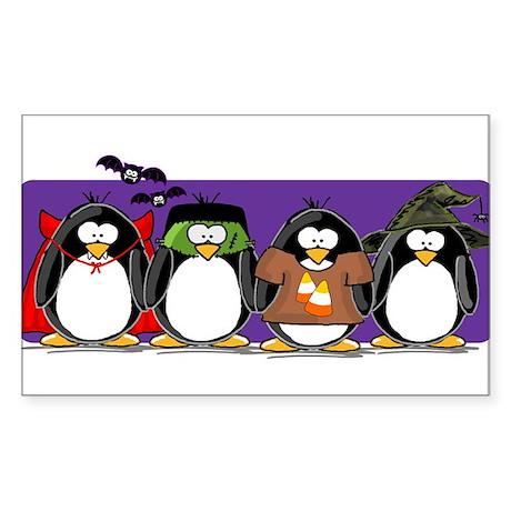 4 Halloween Penguins Rectangle Sticker