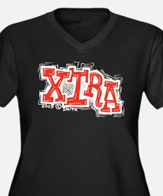 Xtra Women's Plus Size V-Neck Dark T-Shirt