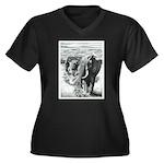 Telephoto Women's Plus Size V-Neck Dark T-Shirt
