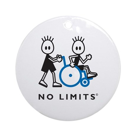 Boy Pushes Disabled Boy Ornament (Round)