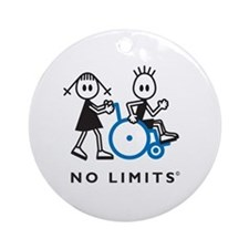 Girl Pushes Disabled Boy Ornament (Round)