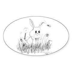 Rabbit Oval Sticker (10 pk)