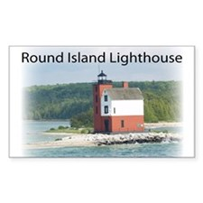 Round Island Lighthouse Rectangle Decal