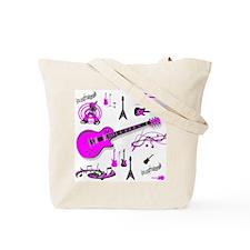 Pink Guitar Collage Tote Bag