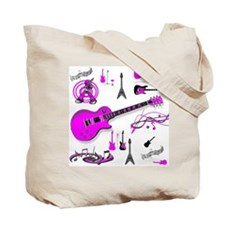 Pink Guitar Collage Tote Bag