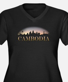 Cambodia Women's Plus Size V-Neck Dark T-Shirt