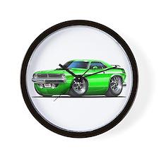 1970 Cuda Green Car Wall Clock