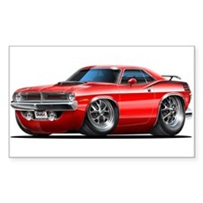1970 Cuda Red Car Rectangle Decal