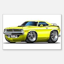 1970 Cuda Yellow Car Rectangle Decal