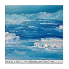 floating icebergs Tile Coaster