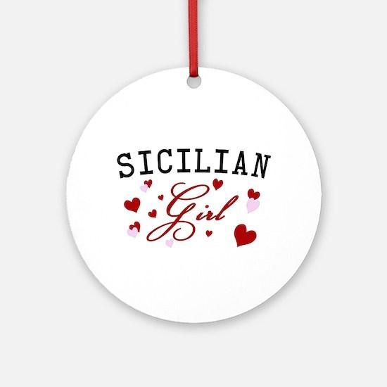 Sicilian Girl Hearts Ornament (Round)