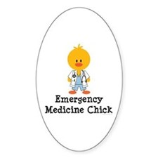Emergency Medicine Chick Oval Decal