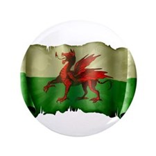 """Antique Flag of Wales 3.5"""" Button"""