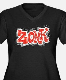 Zonk Women's Plus Size V-Neck Dark T-Shirt