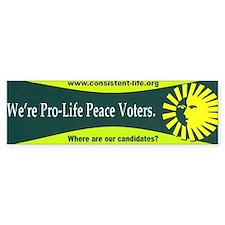 Pro-Life Peace Voters Bumper Bumper Sticker