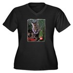 Paka the Serval Women's Plus Size V-Neck Dark T-Sh