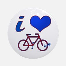 I Love Biking Ornament (Round)